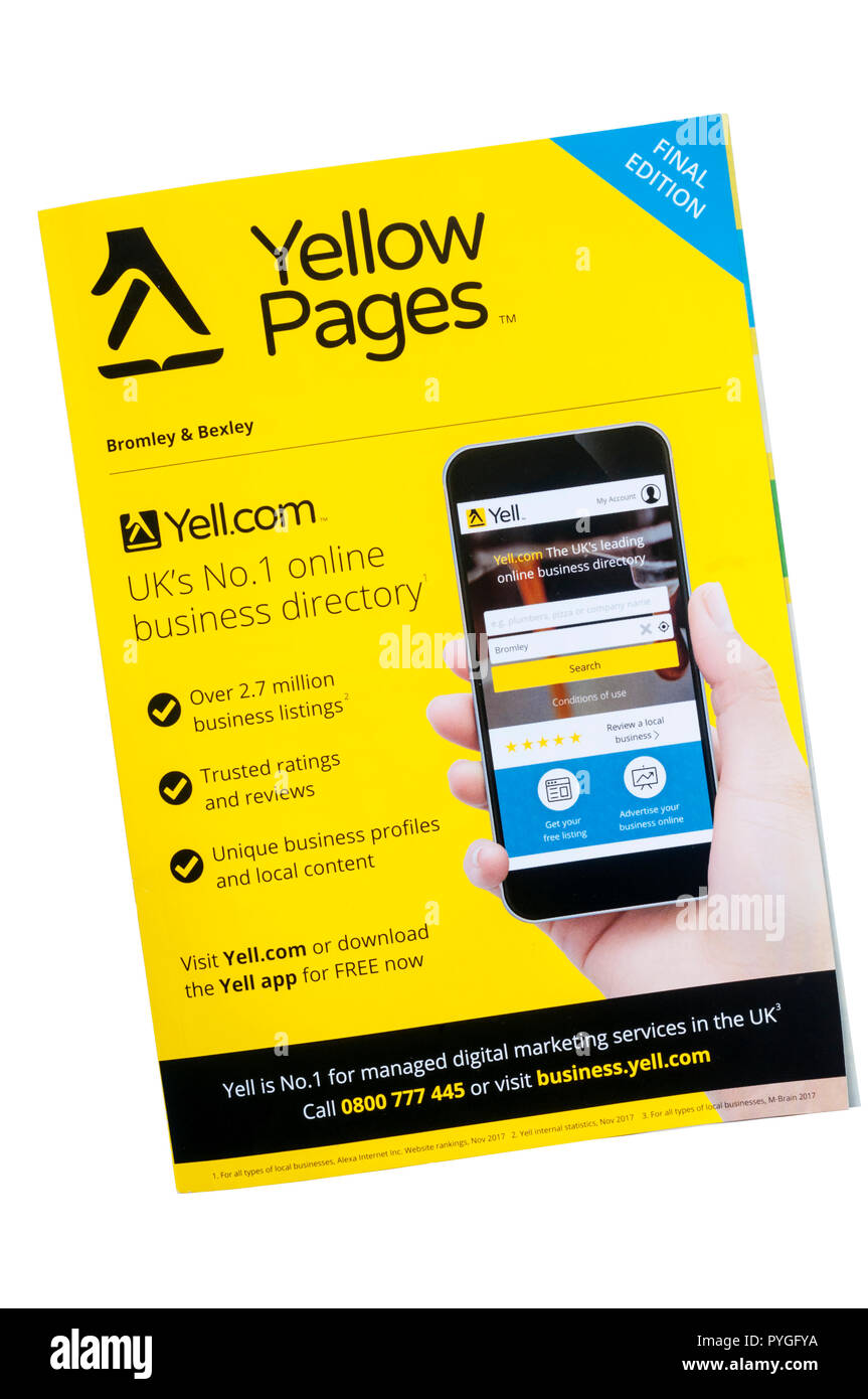 Final print copy of Yellow Pages business directory. - Stock Image