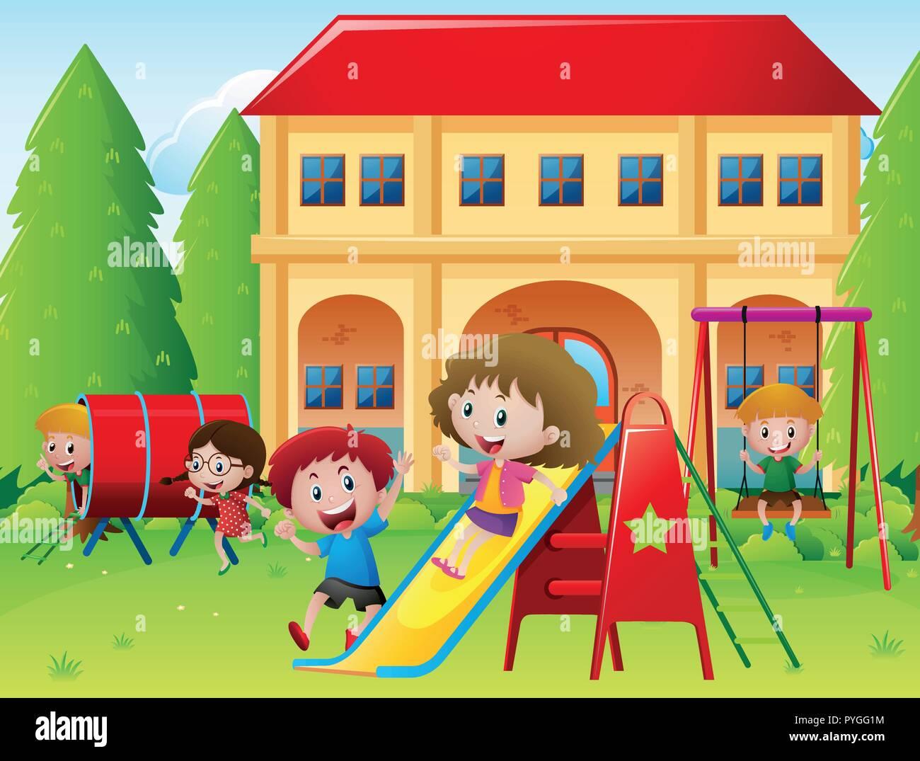 school playground stock vector images - alamy