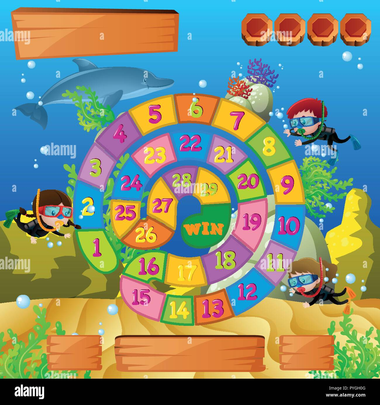 boardgame template with kids diving under the sea illustration stock