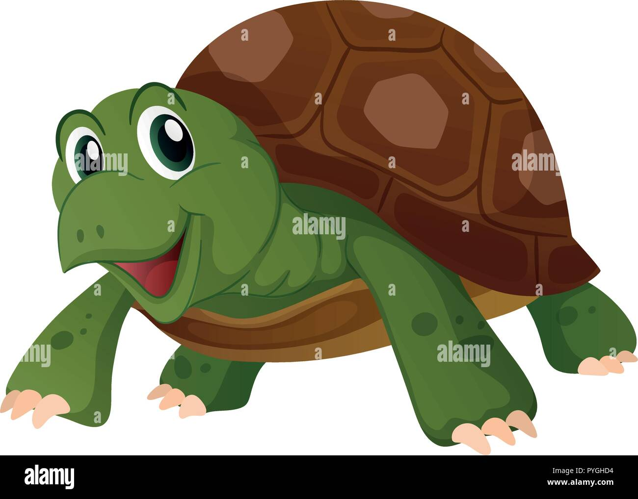 Cute Turtle With Happy Face Illustration Stock Vector Image Art