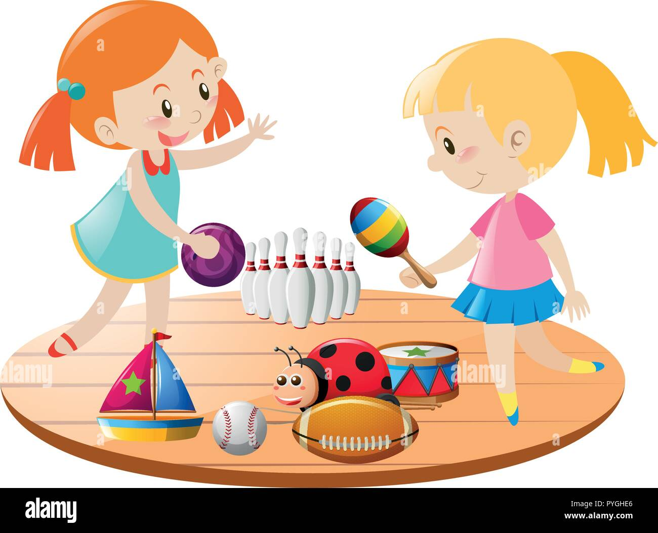 Two Girls Playing With Toys Illustration Stock Vector Art