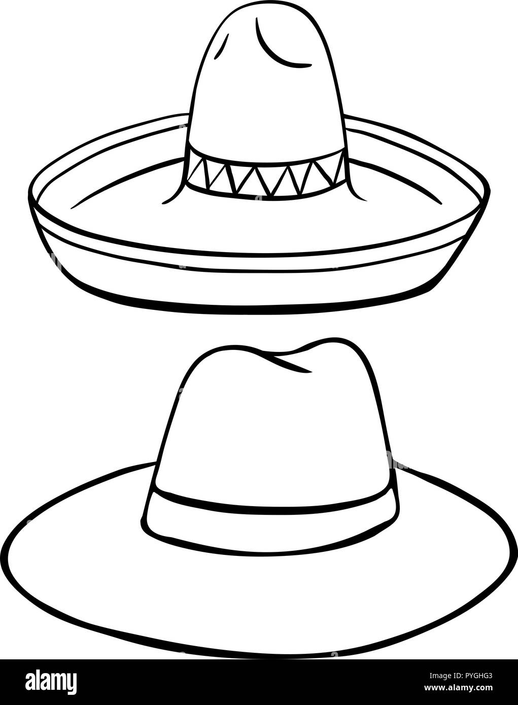 Two styles of hats  illustration - Stock Image