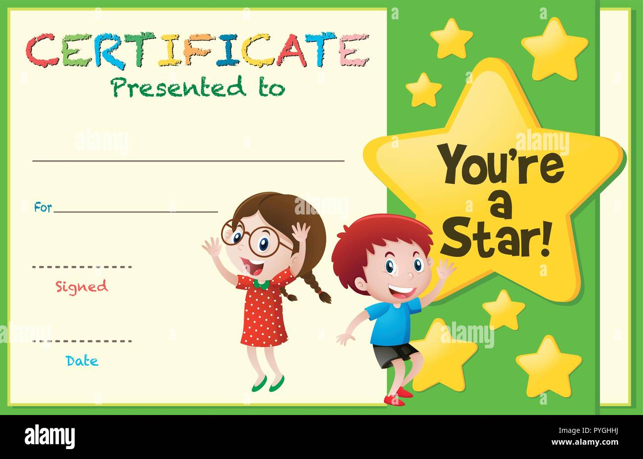 Certificate template with kids and stars illustration Stock Vector Pertaining To Star Award Certificate Template