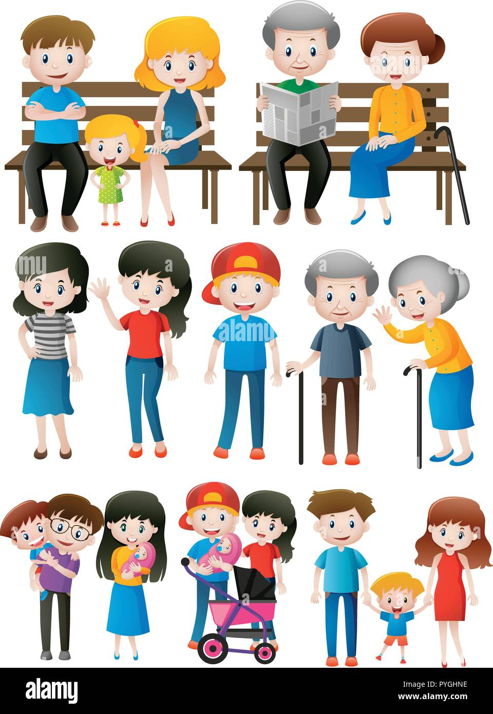 Family members of different generations illustration - Stock Vector