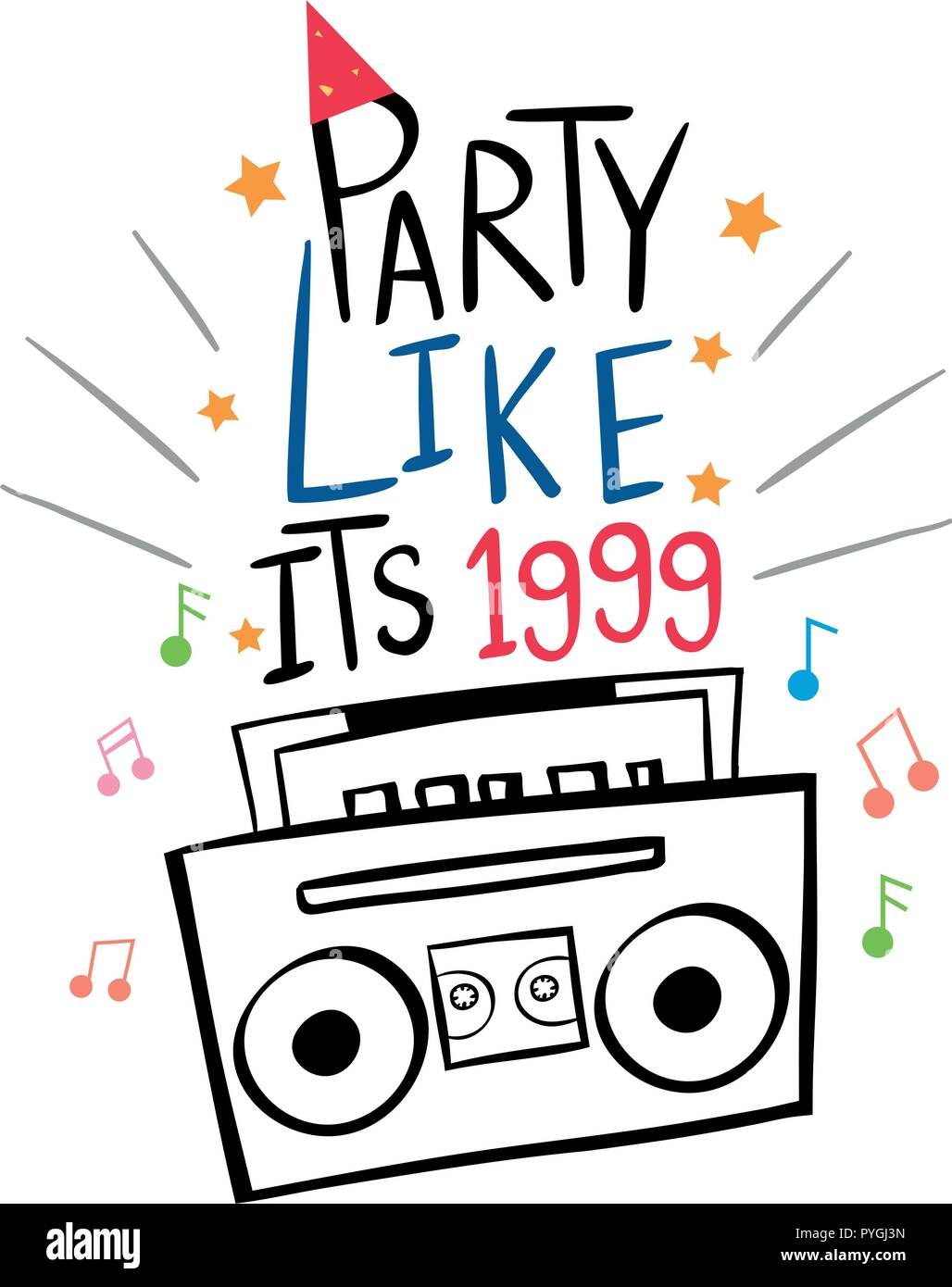 Word expression for party like its 1999 with radio in background illustration Stock Vector