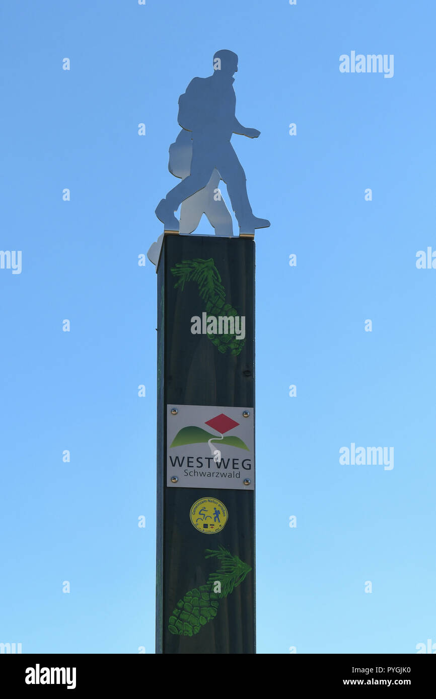 Westweg or Westway long distance Black Forest footpath marker sign, Germany, Europe - Stock Image