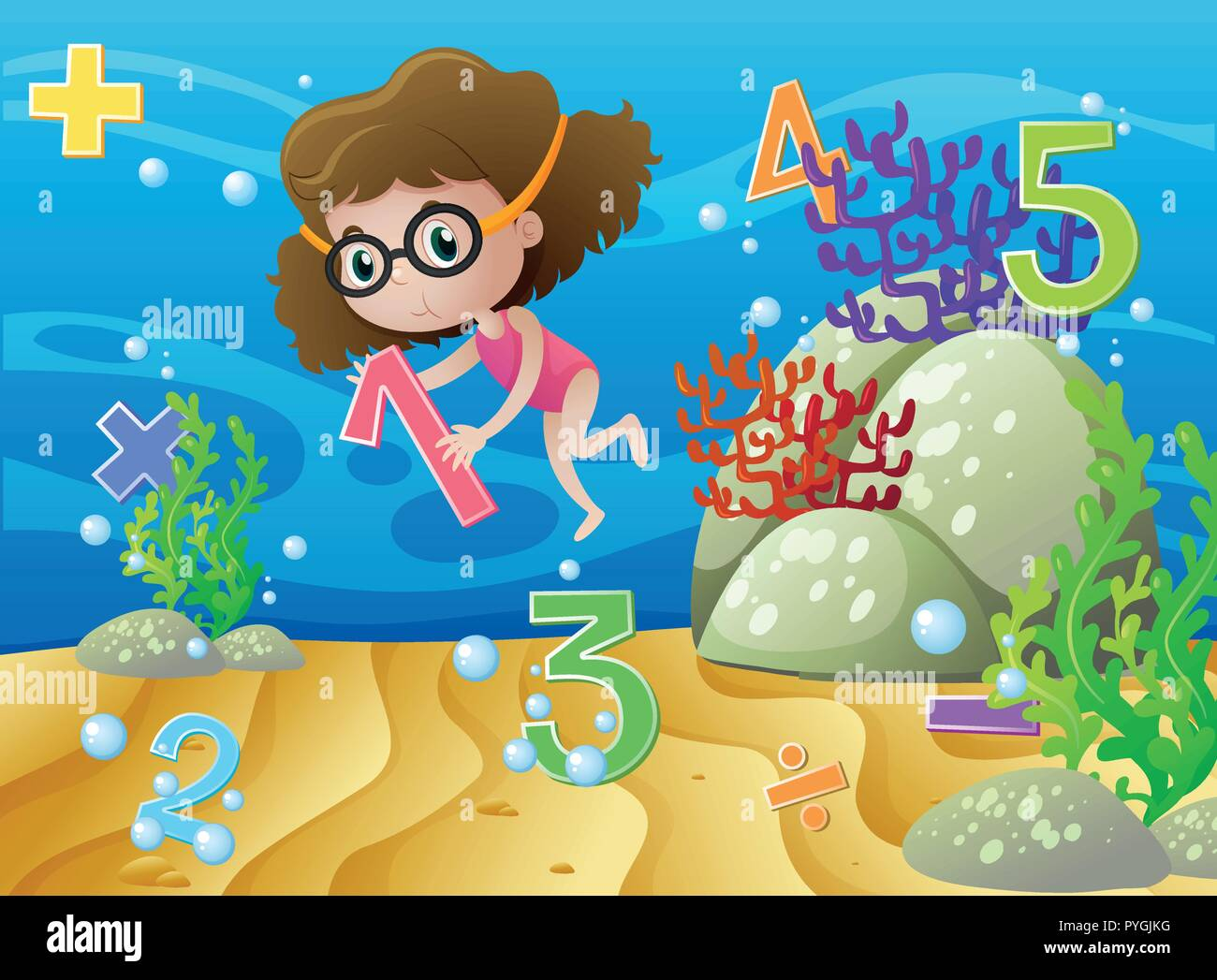 Girl and numbers underwater illustration Stock Vector
