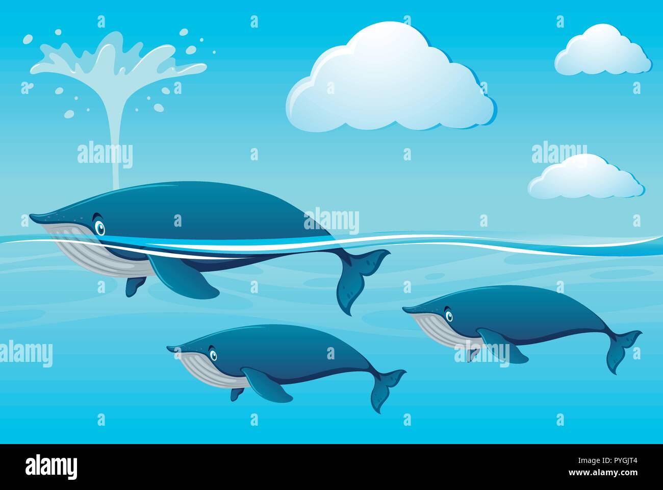 Three whales swimming in ocean illustration - Stock Vector