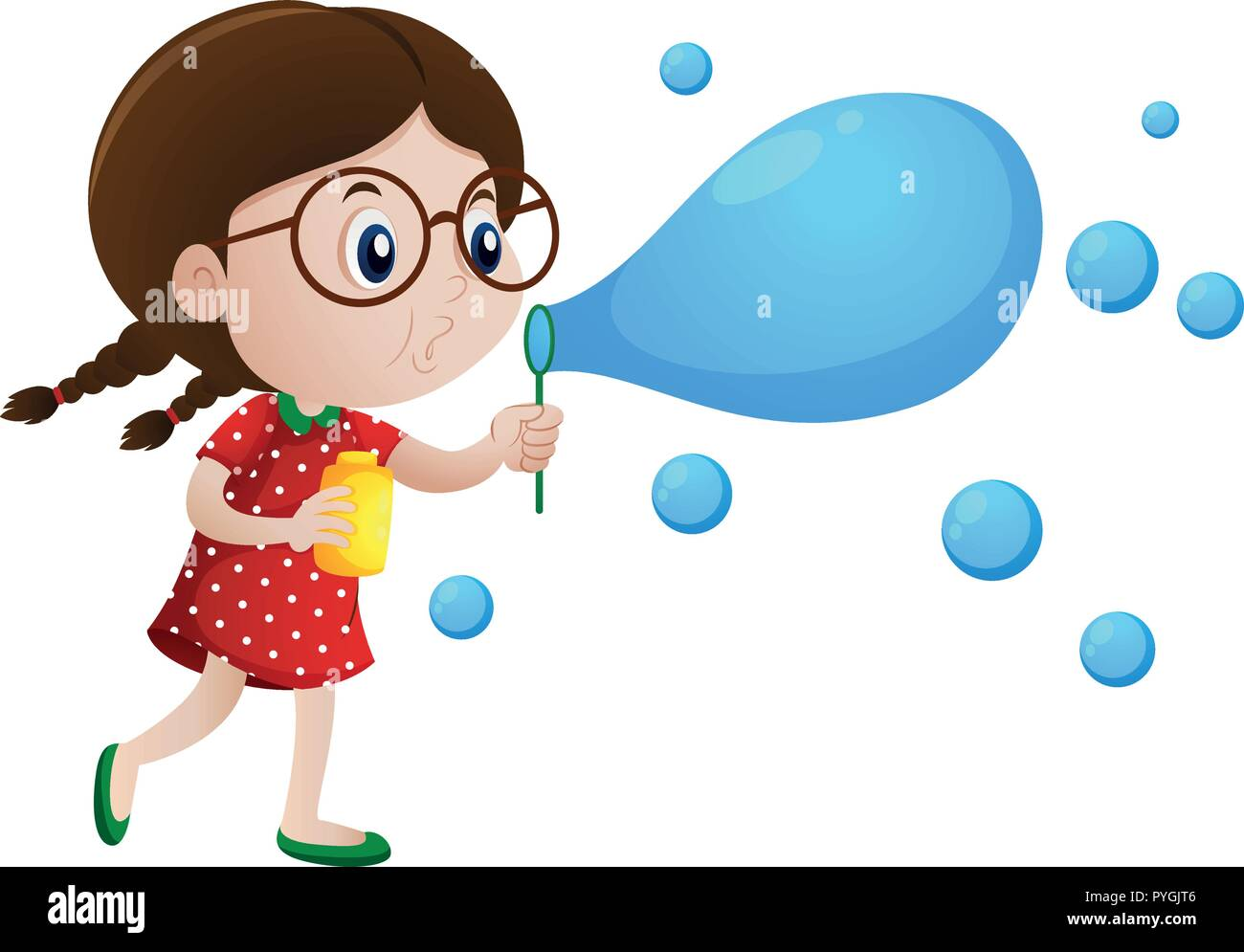 Little girl blowing bubbles illustration - Stock Vector