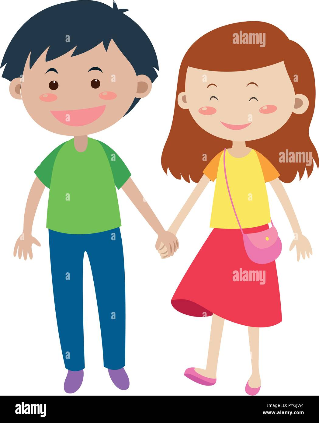 Happy couple holding hands illustration