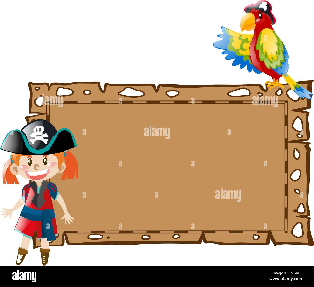 Border Template With Girl Pirate And Bird Illustration Stock Vector