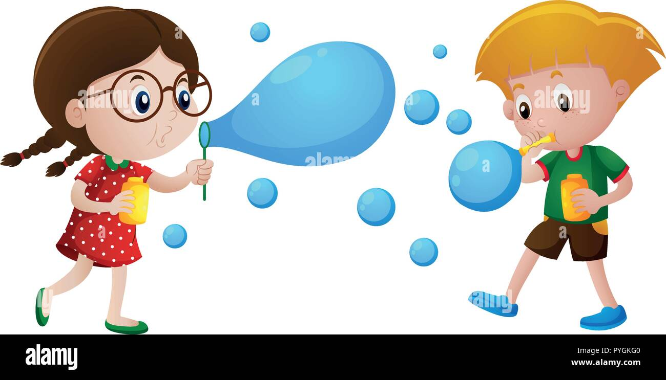 Boy and girl blowing bubbles illustration - Stock Vector