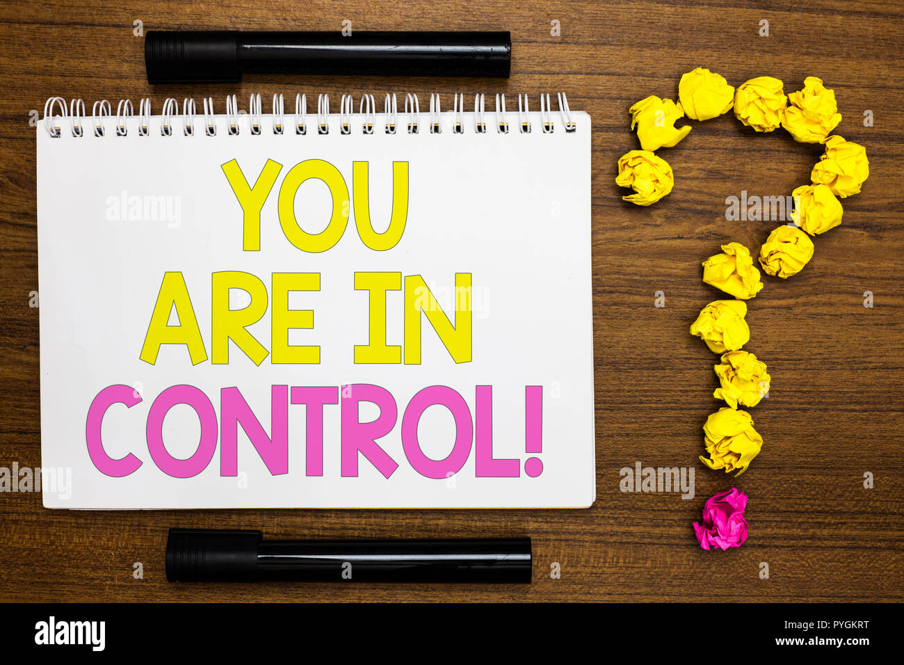 Conceptual hand writing showing You Are In Control. Business photo showcasing Responsibility over a situation Management authority White page with bri Stock Photo