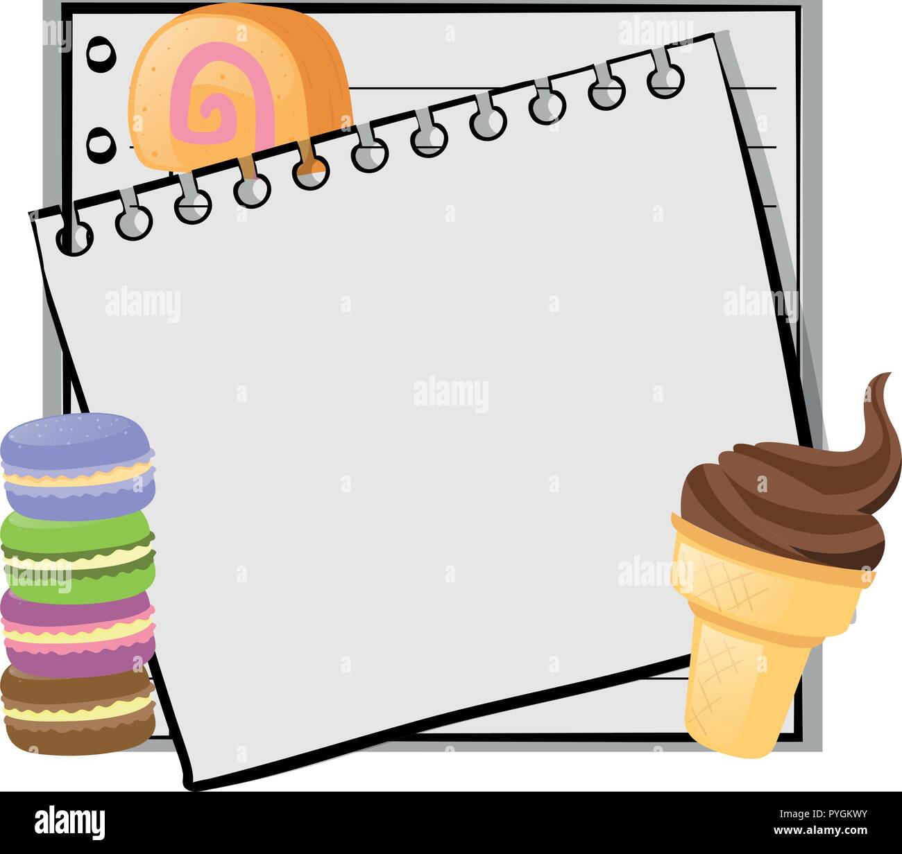 paper template with icecream and macarons illustration stock vector