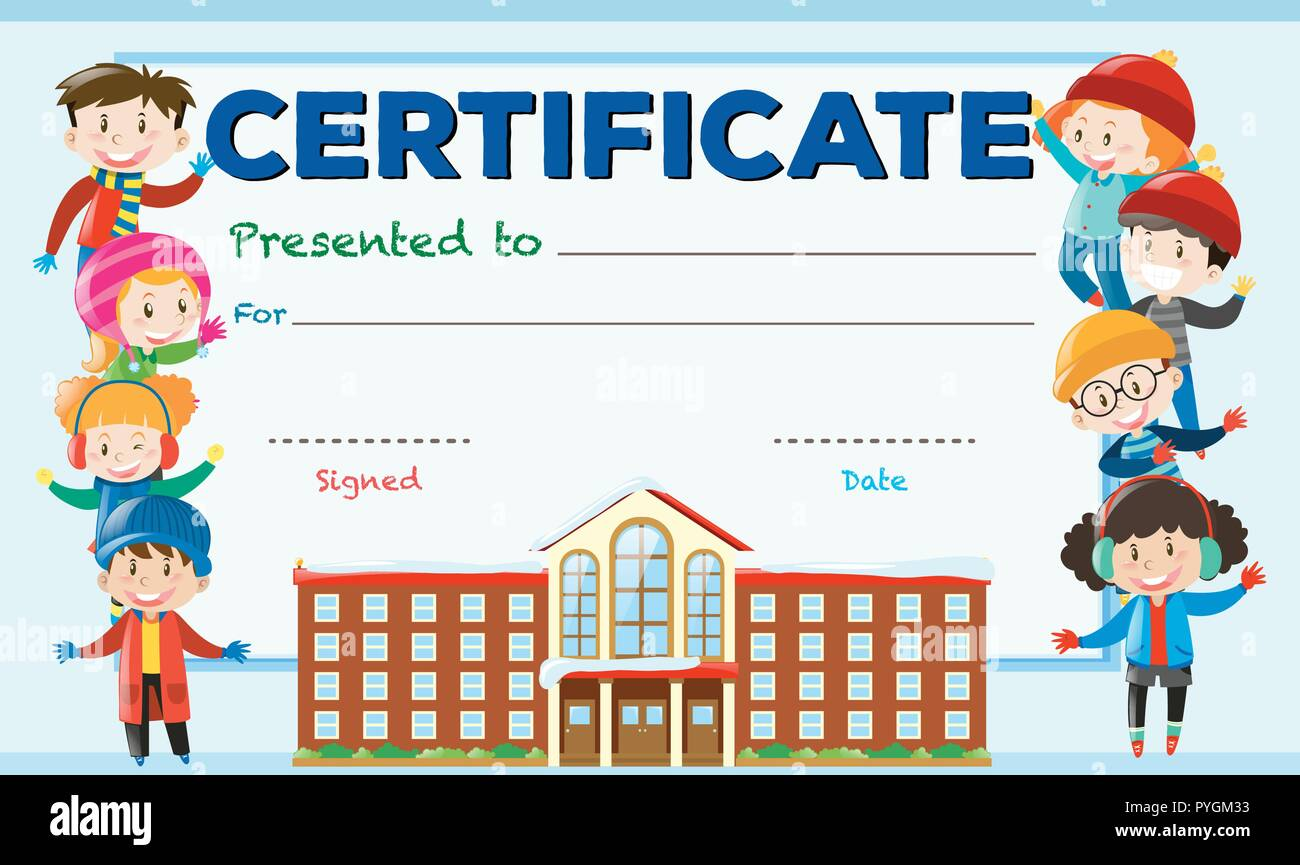 Certificate Template With Kids And School Building Illustration