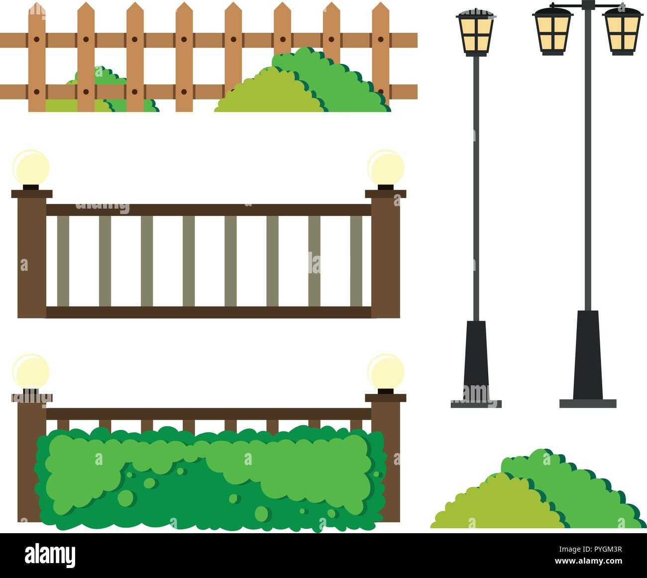 Fences and lamp posts illustration - Stock Vector