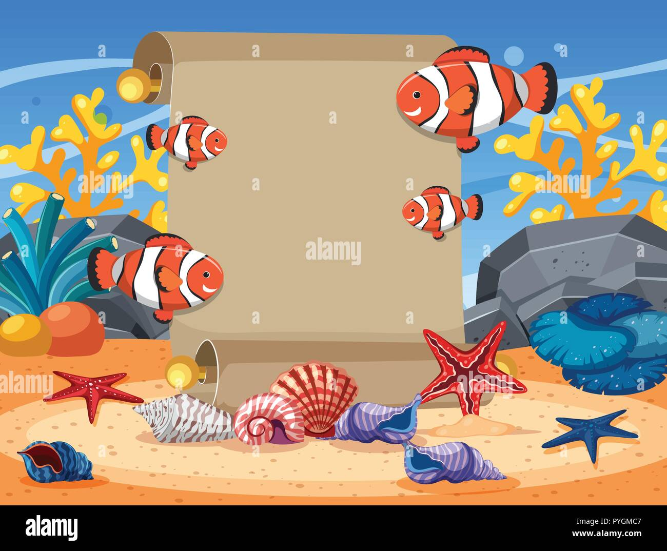 border template with clownfish and starfish underwater illustration