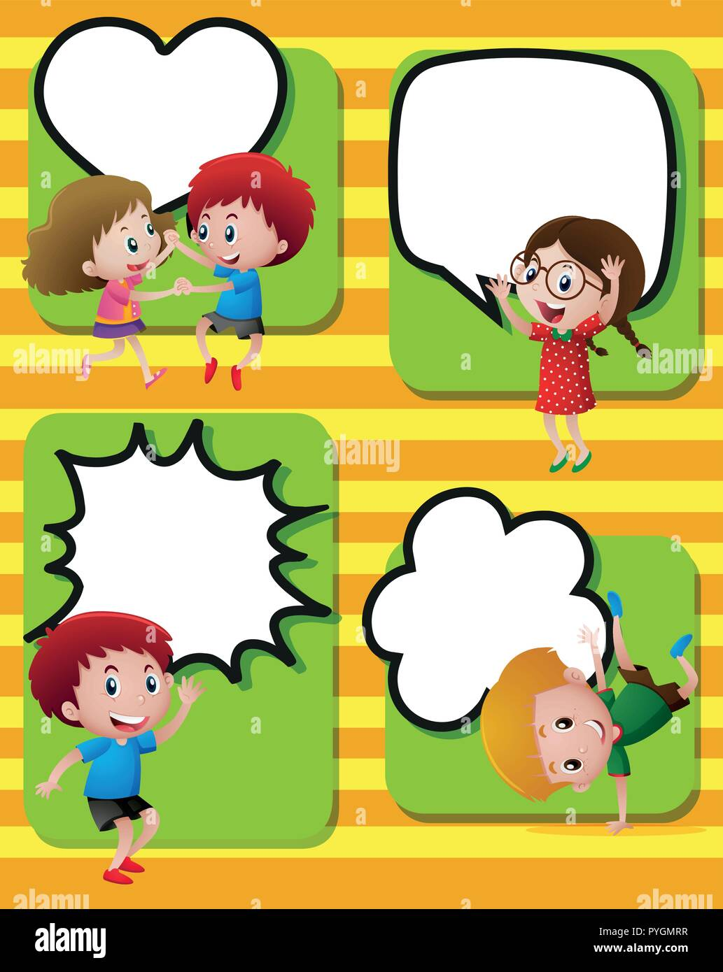 speech bubbles template with happy kids illustration stock vector