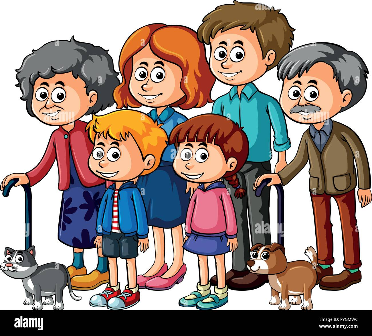 Family members with parents and kids illustration - Stock Vector