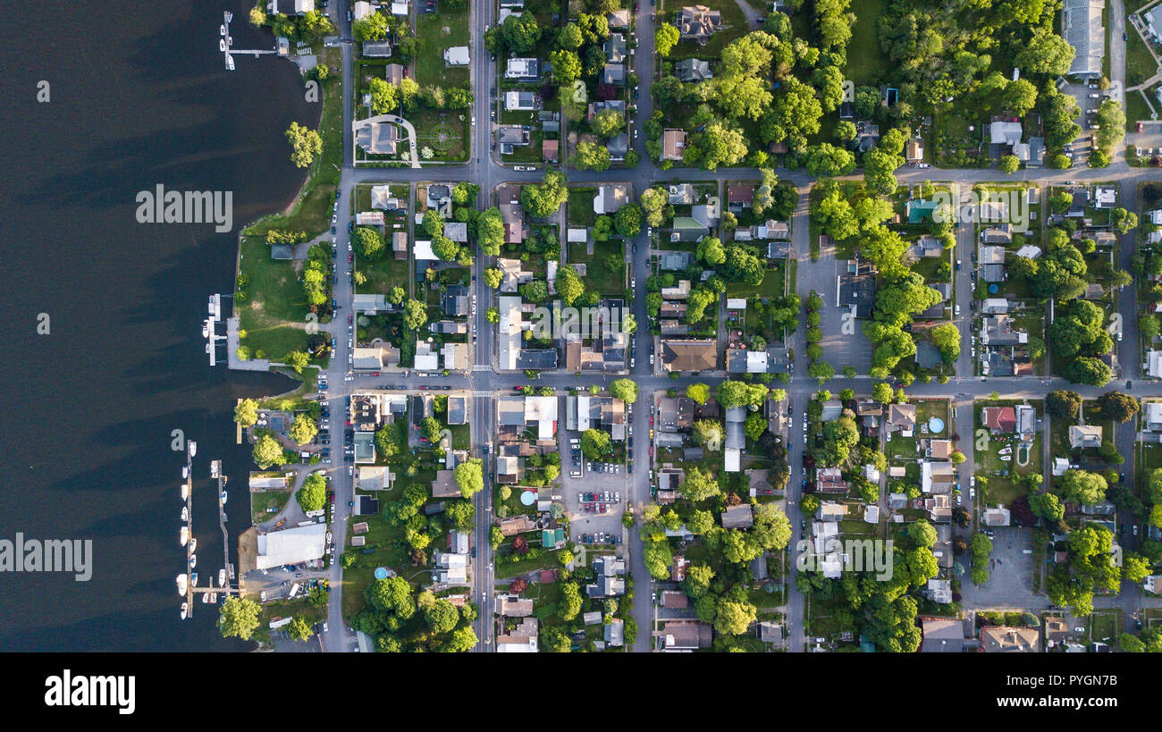 Aerial photos of Athens, NY, USA - Stock Image