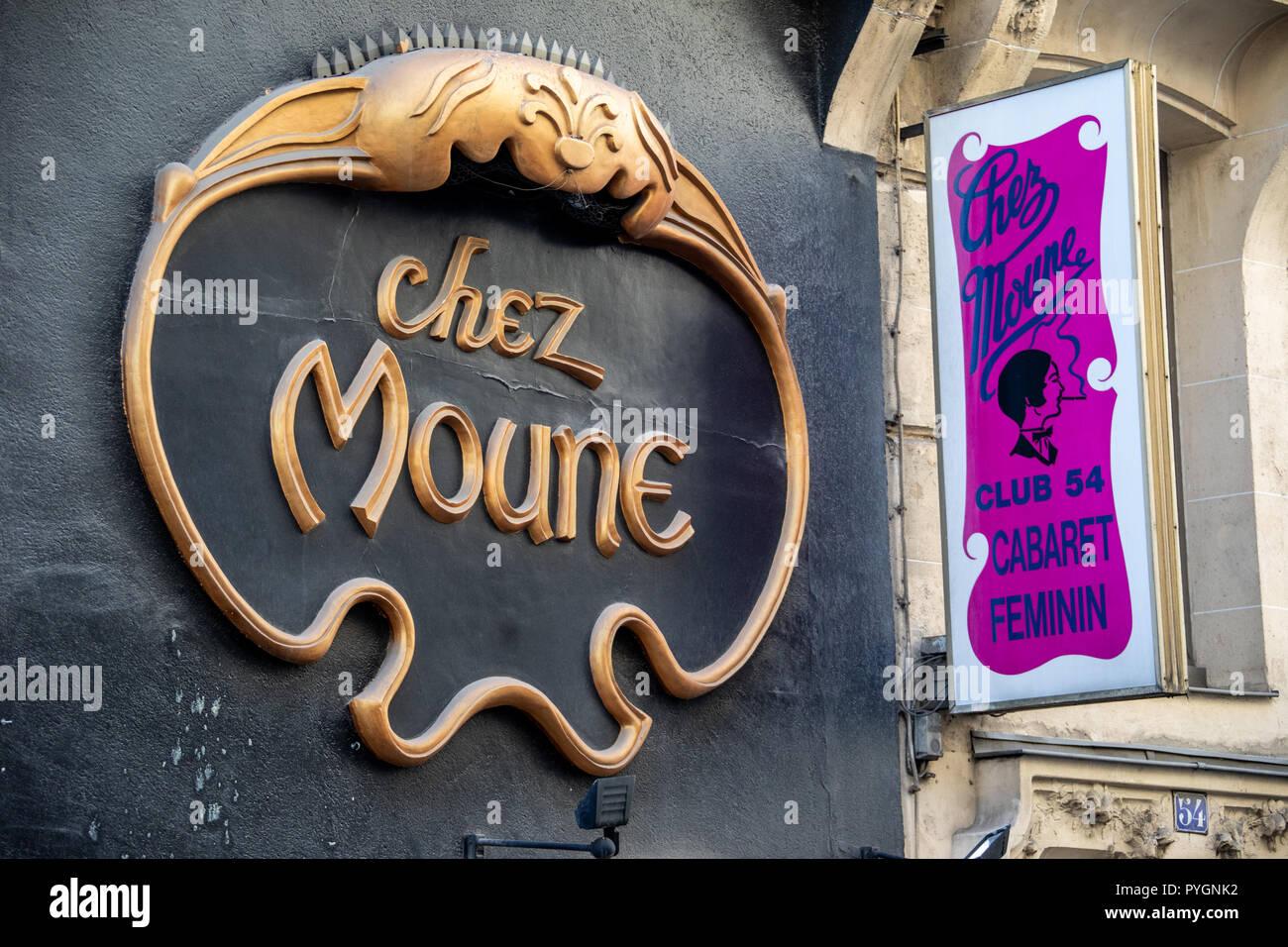 Chez Moune, Club 54 Cabaret Feminin, Paris, France - Stock Image