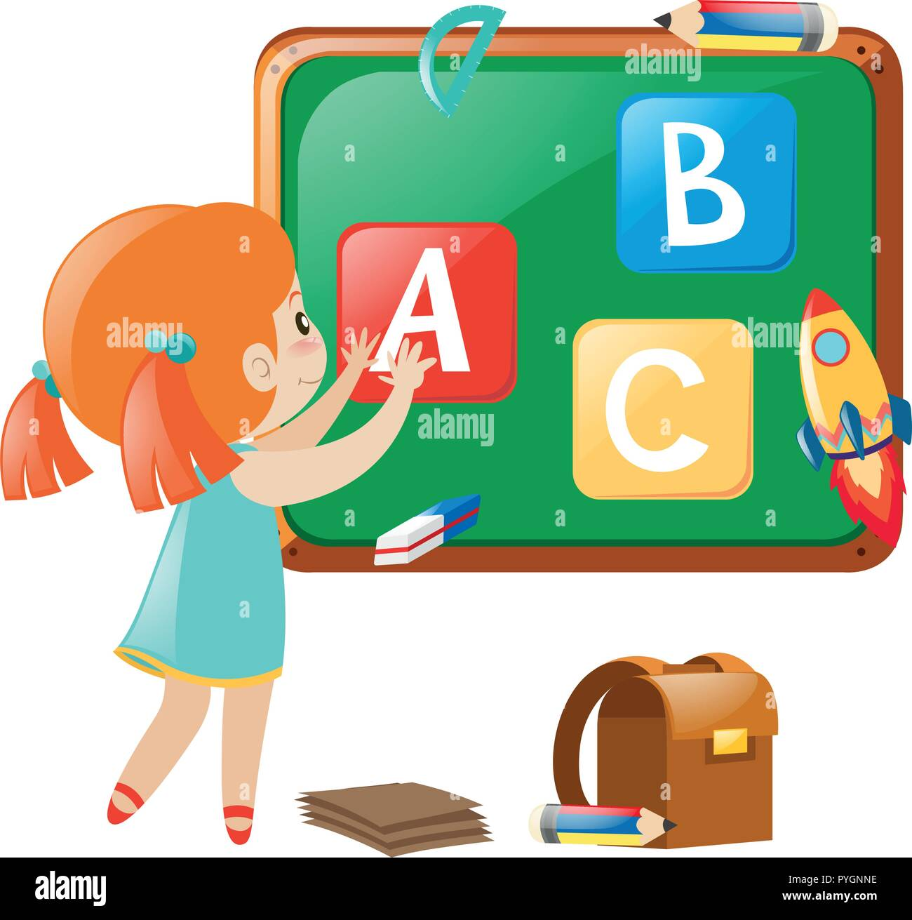 Little girl posting english alphabets on board illustration - Stock Image