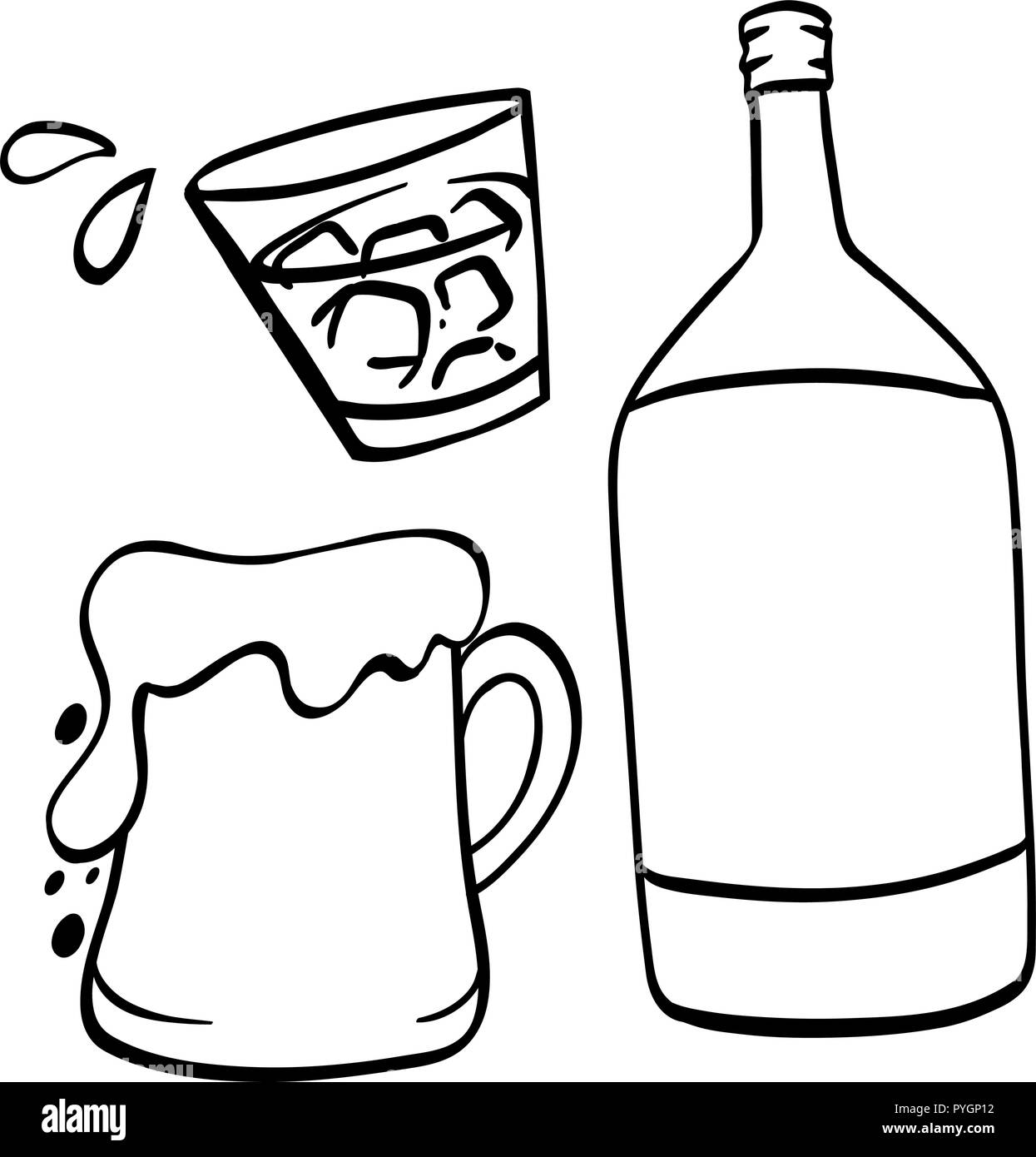 Doodle drawing for beer and alcohol illustration Stock Vector