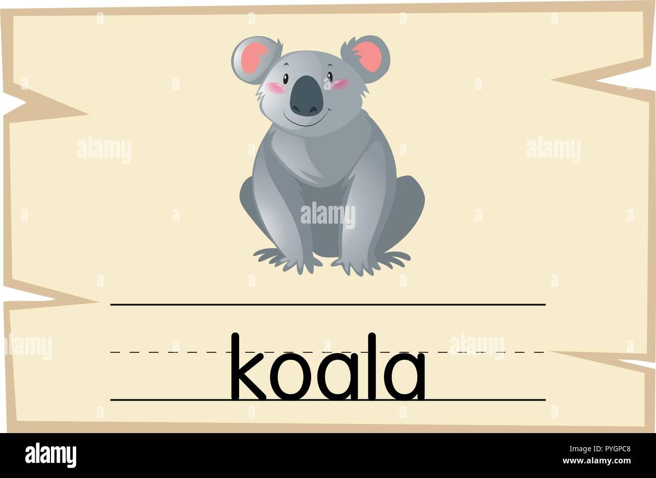wordcard template for koala bear illustration stock vector art
