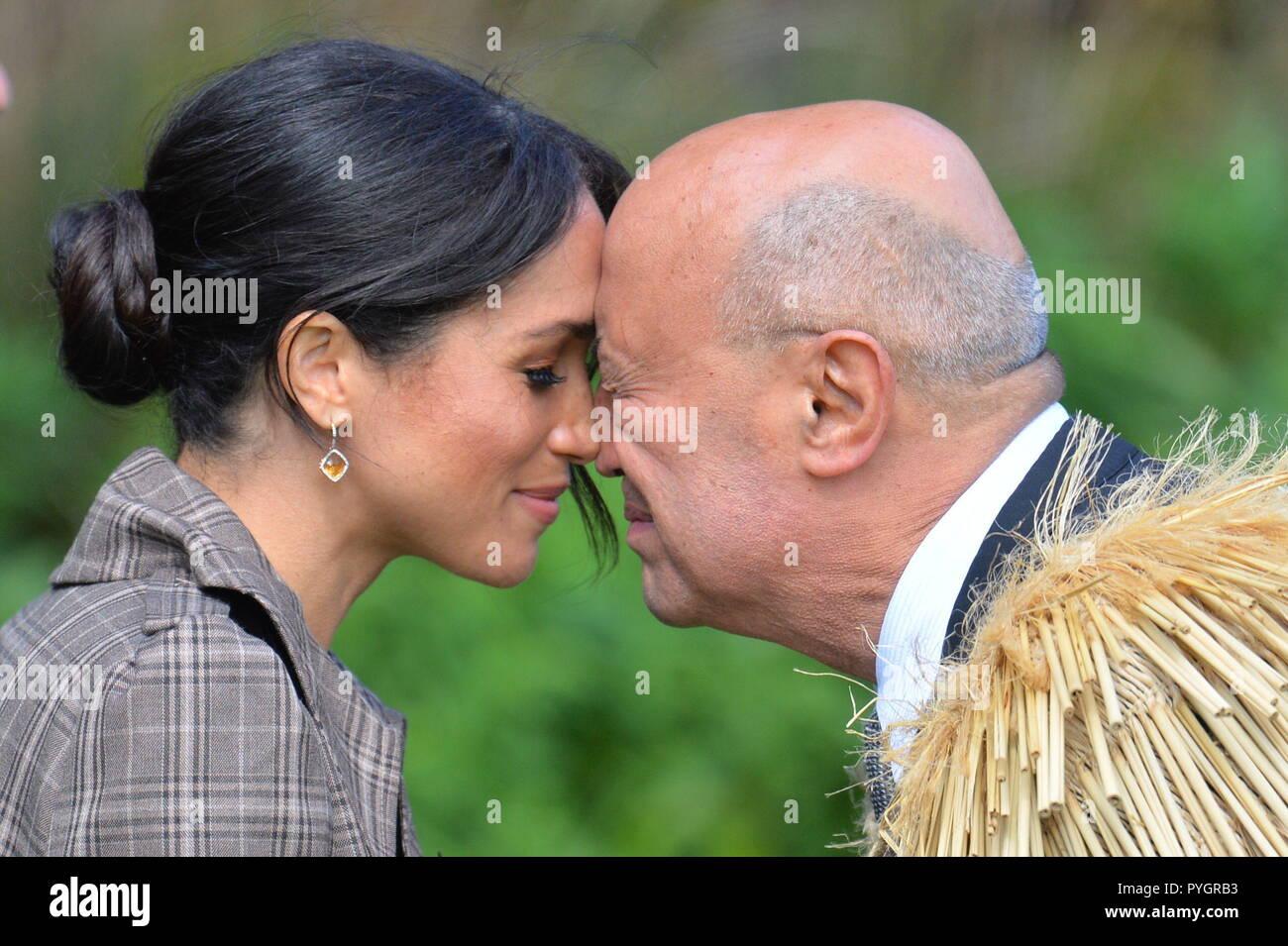 Maori Greeting Hongi: The Duchess Of Sussex Receives A Hongi, A Traditional