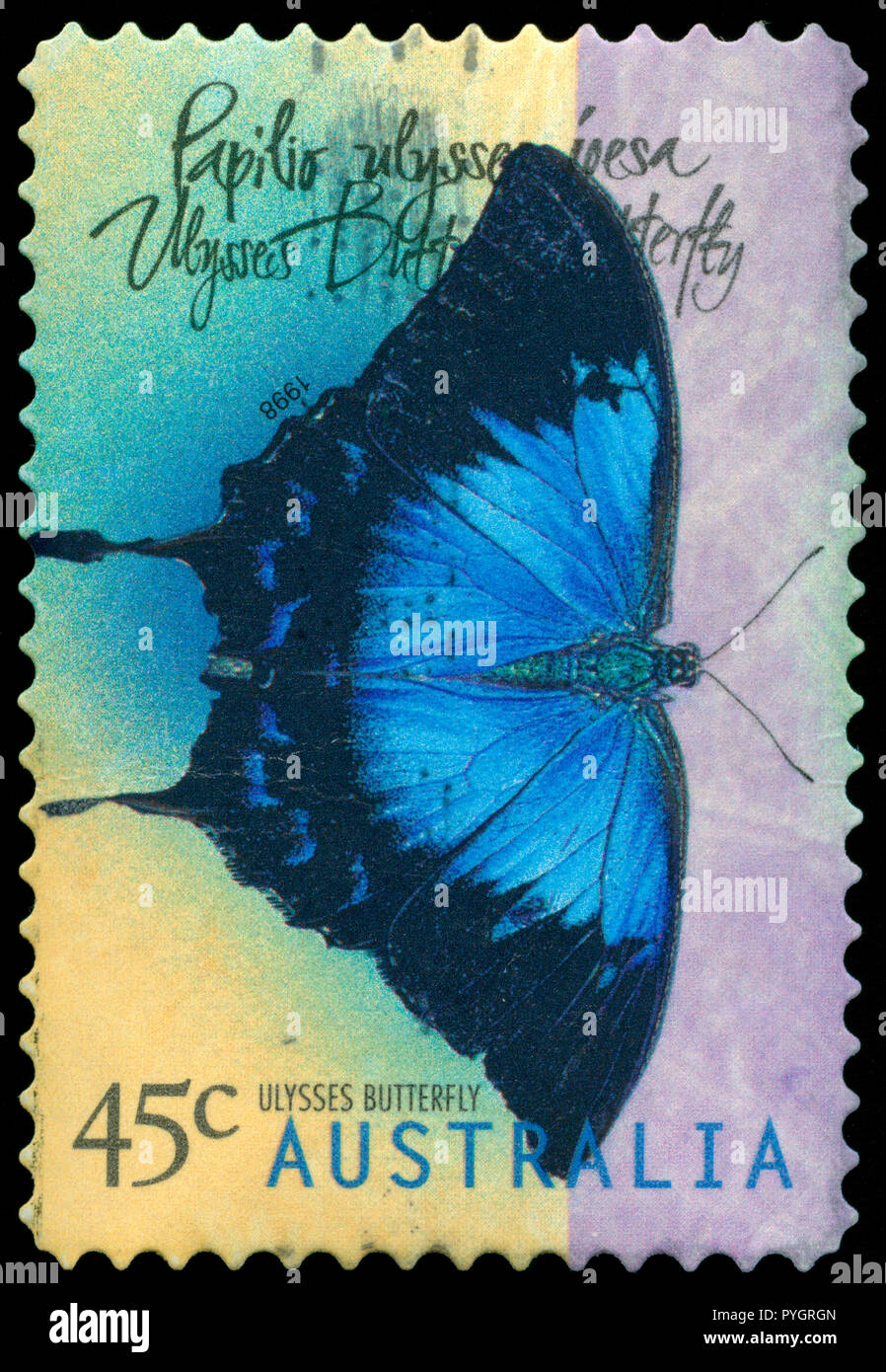 Postmarked stamp from Australia in the Butterflies (1998-1999) series issued in 1998 - Stock Image