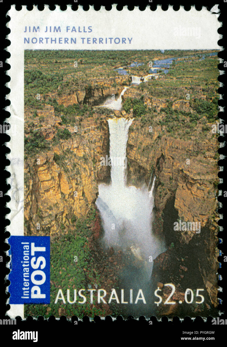 Postmarked stamp from Australia in the  International Post. Waterfalls of Australia series issued in 2008 - Stock Image