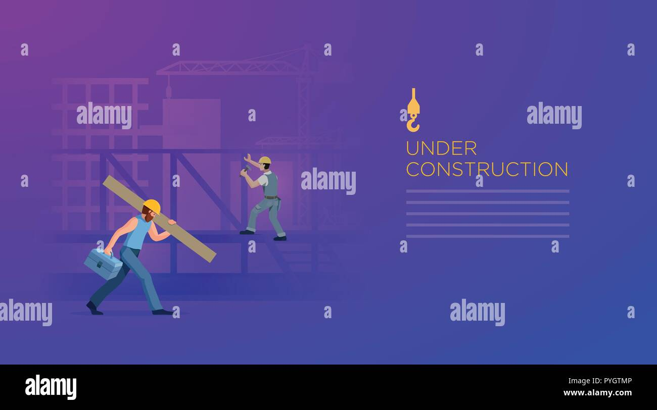 Building under construction with workers. Page design template. Vector illustration. Elements are layered separately in vector file. - Stock Image