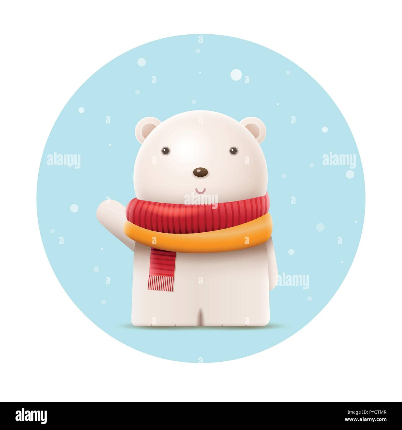 Cute polar bear say hi. Vector character illustration. Elements are layered separately in vector file. Stock Vector