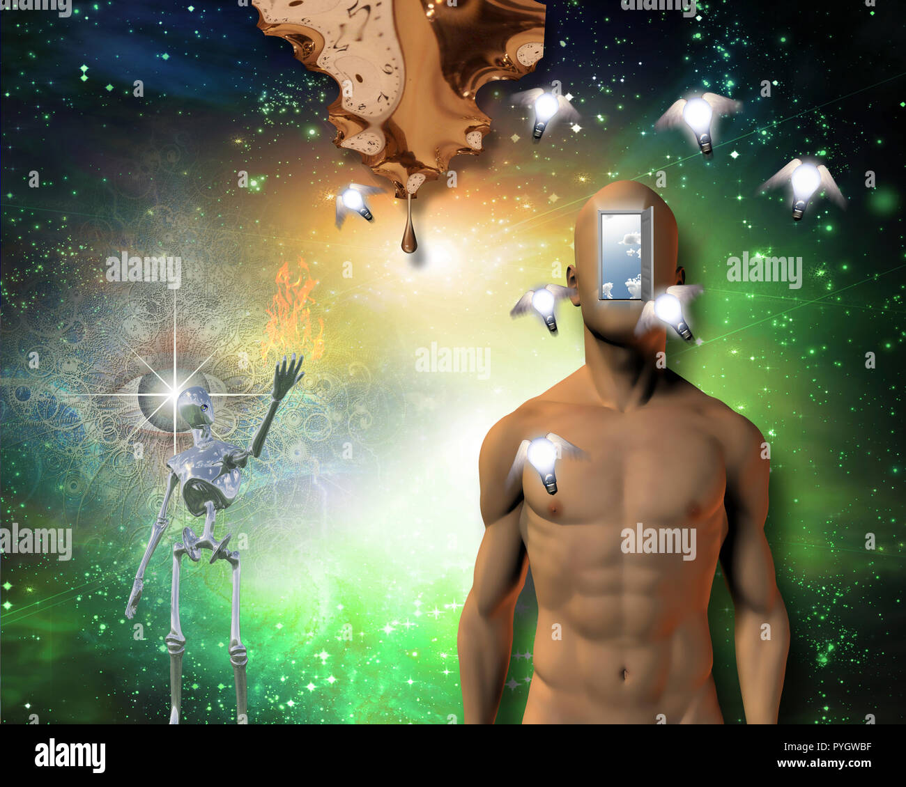 Man with open door in face, warped time drips, gleaming robot, and watchful eye. Winged light bulbs represents flow of time - Stock Image