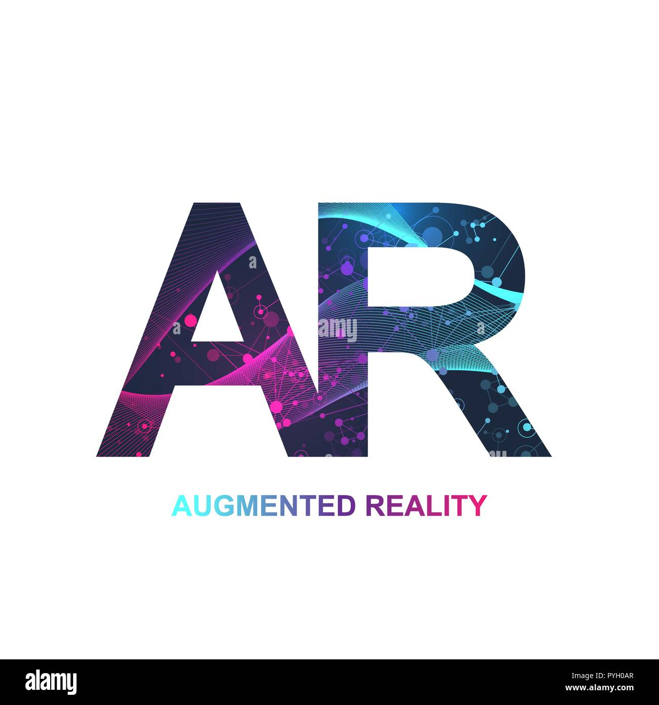 Augmented reality concept banner, AR. Virtual reality and augmented reality logo. Modern ...