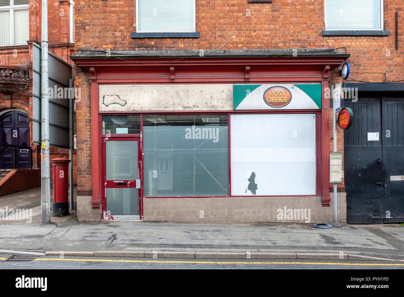 Closed down and re-located post office in Middlewich Cheshire UK - Stock Image