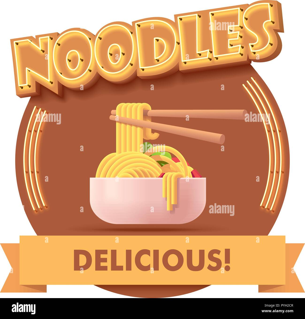 Vector Chinese noodles icon or label for menu - Stock Vector