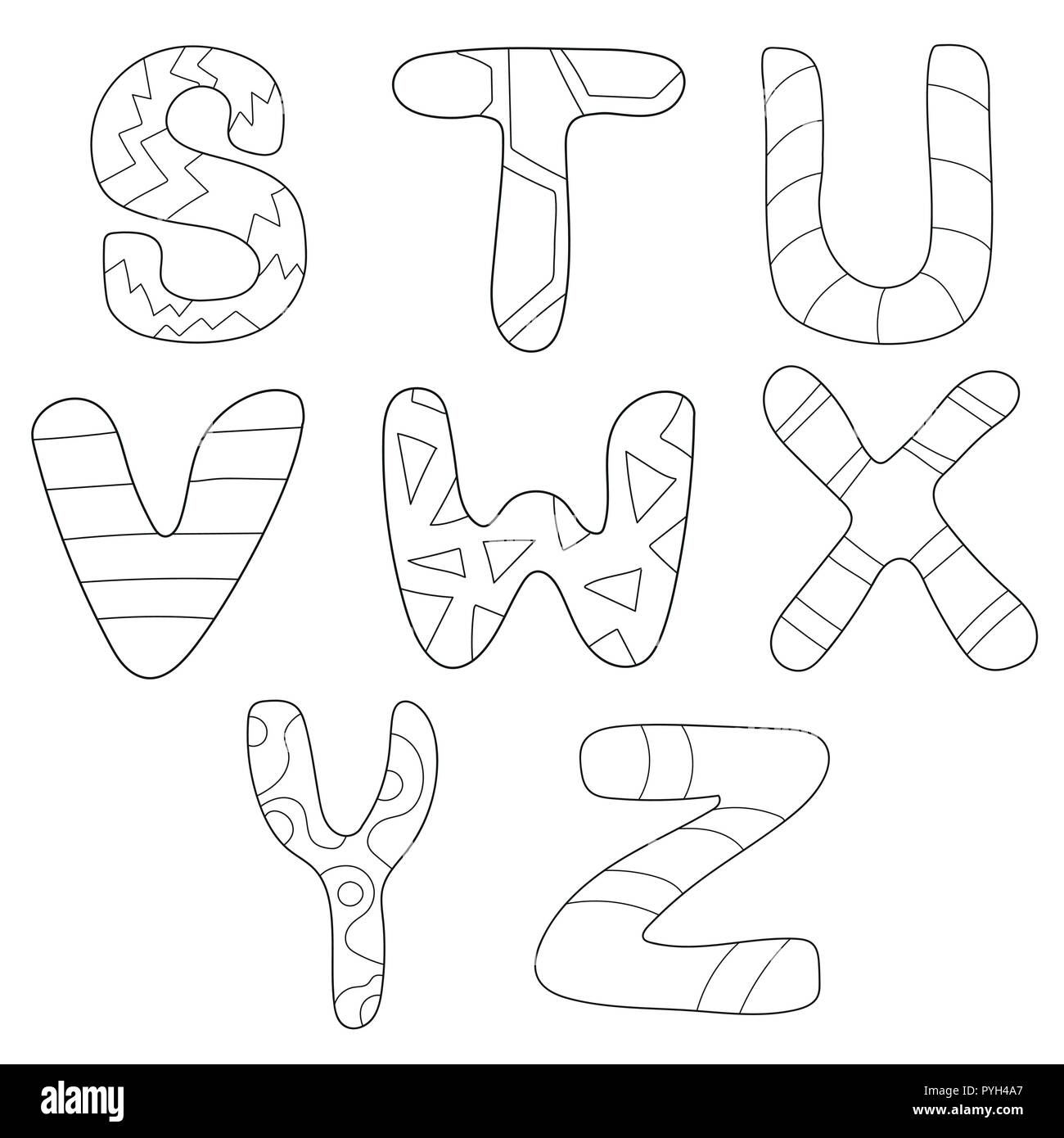 Cartoon Alphabet Coloring Book Or Page Set For Children Education - Coloring-book-fun
