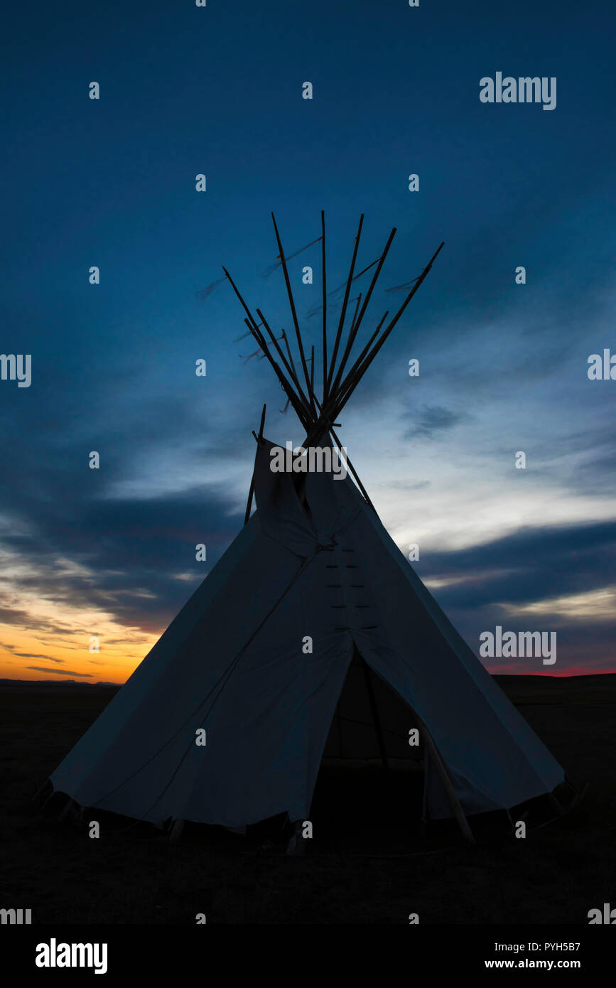Teepee, First Peoples Buffalo Jump SP, MT, USA, by Bruce Montagne/Dembinsky Photo Assoc - Stock Image