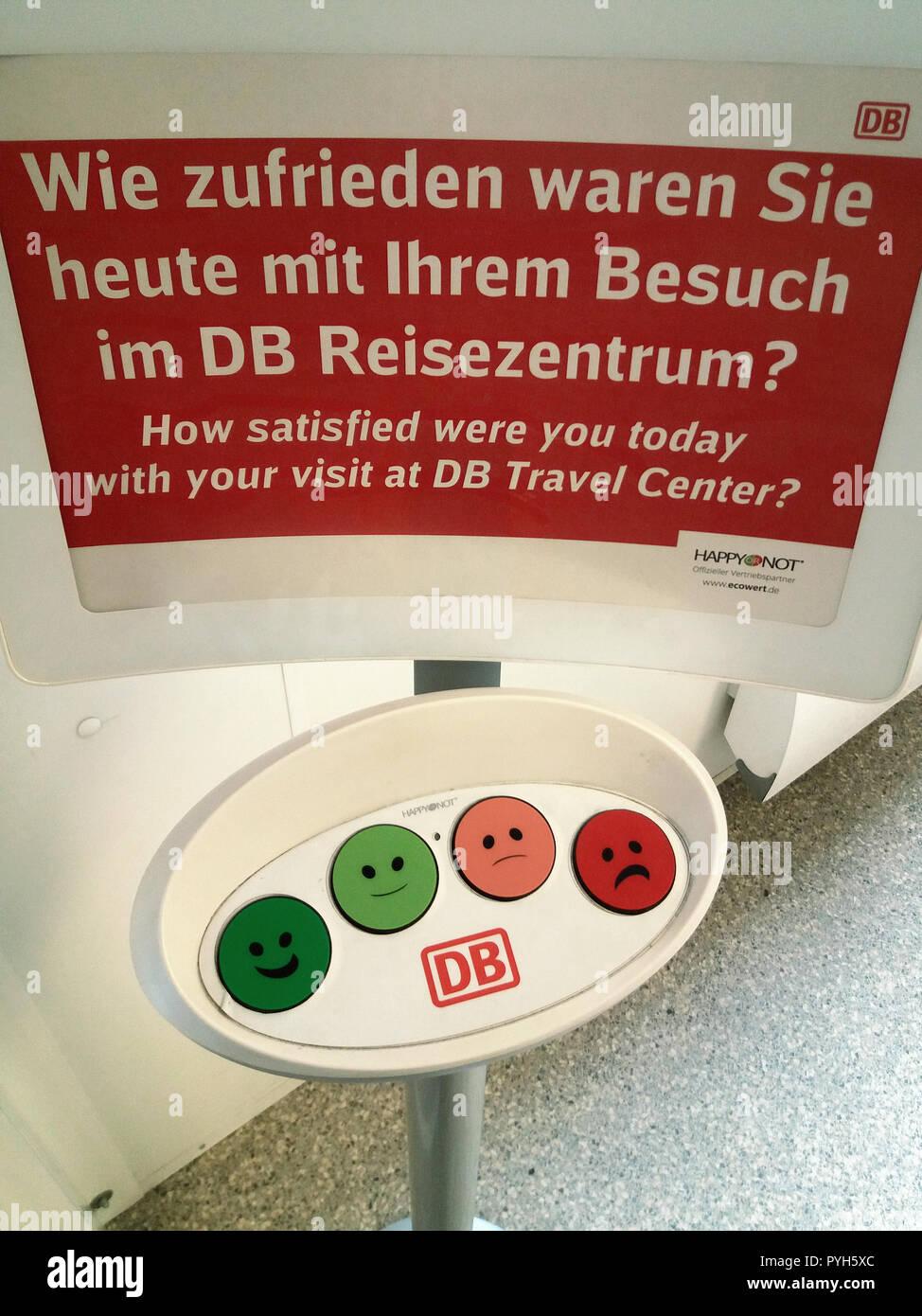 Berlin, Germany - Apparatus for customer satisfaction survey, Deutsche Bahn AG - Stock Image