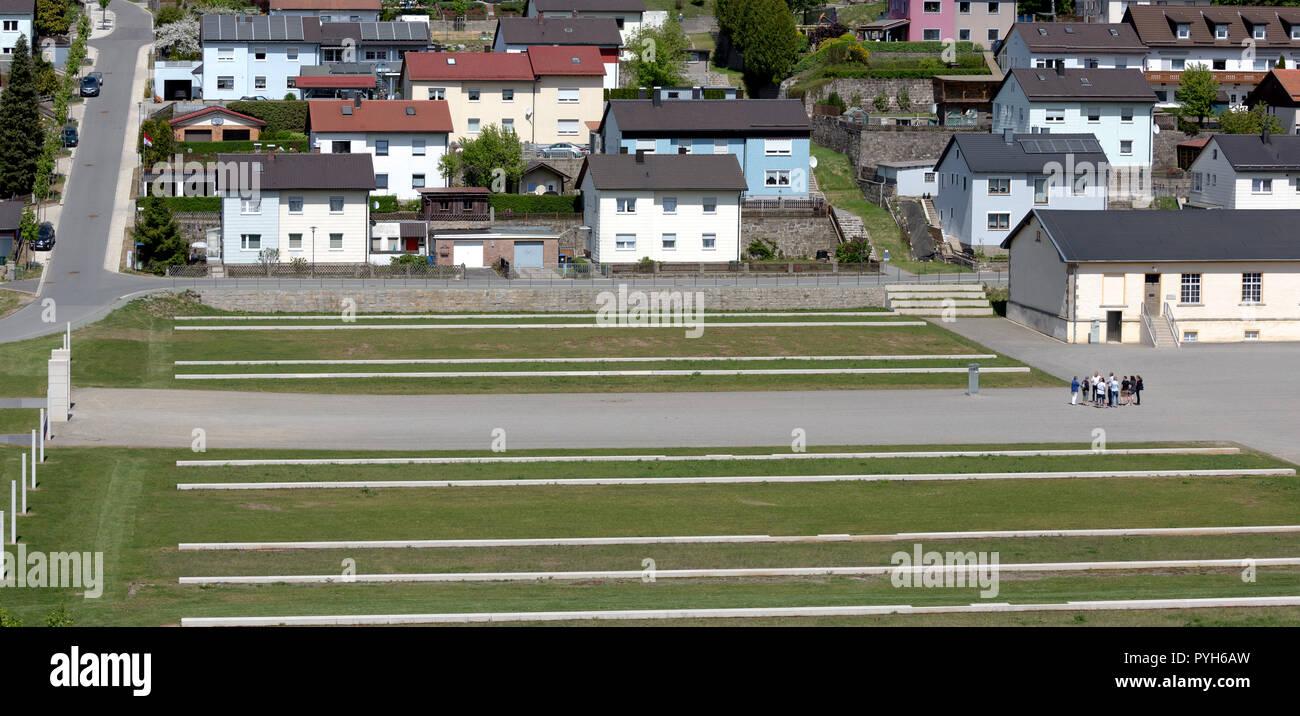Bavaria, Germany - Concentration camp memorial Flossenbuerg, concrete blocks symbolize former prisoner barracks - Stock Image