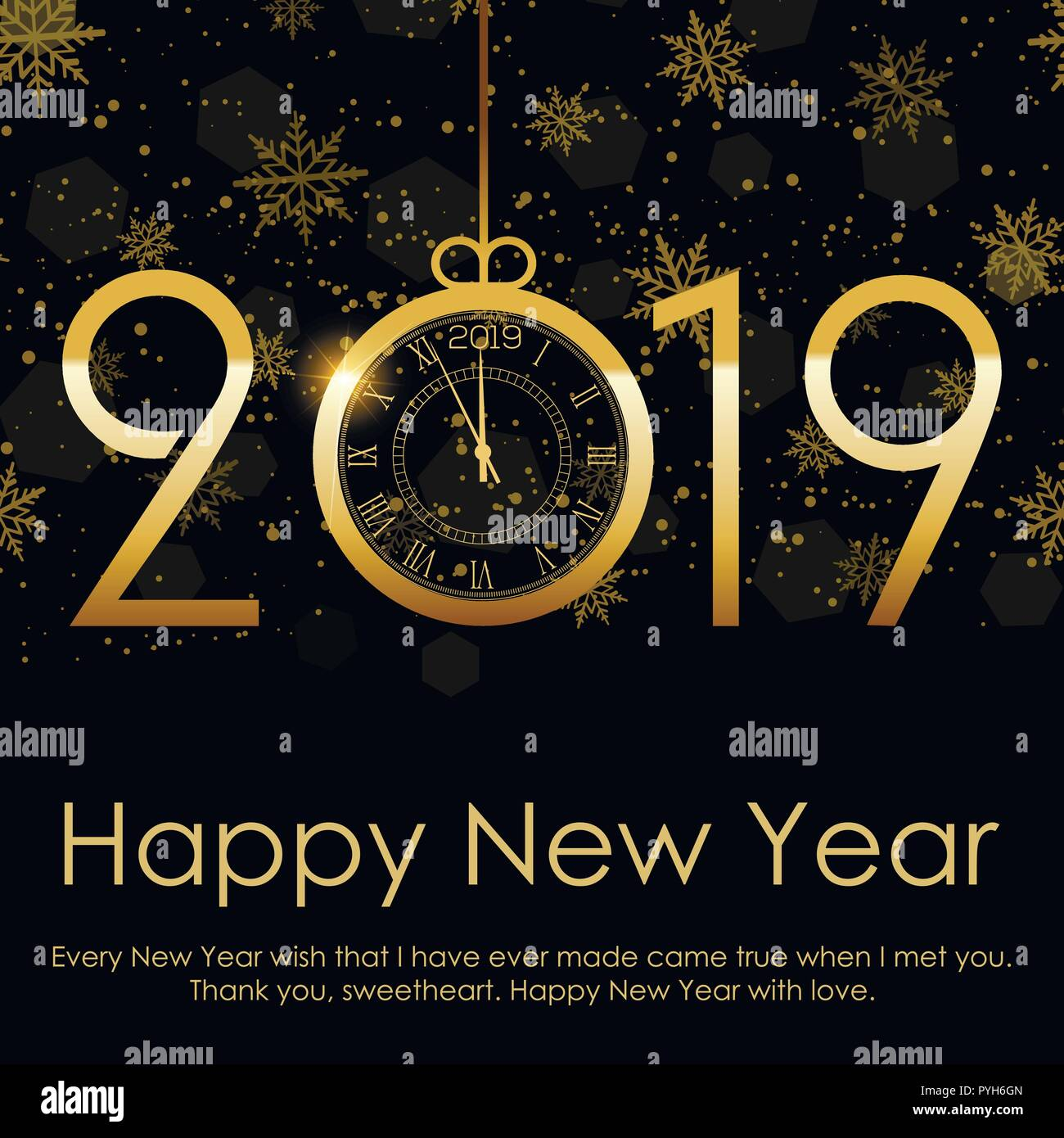 happy new year and christmas background with falling gold snow 2019 vector