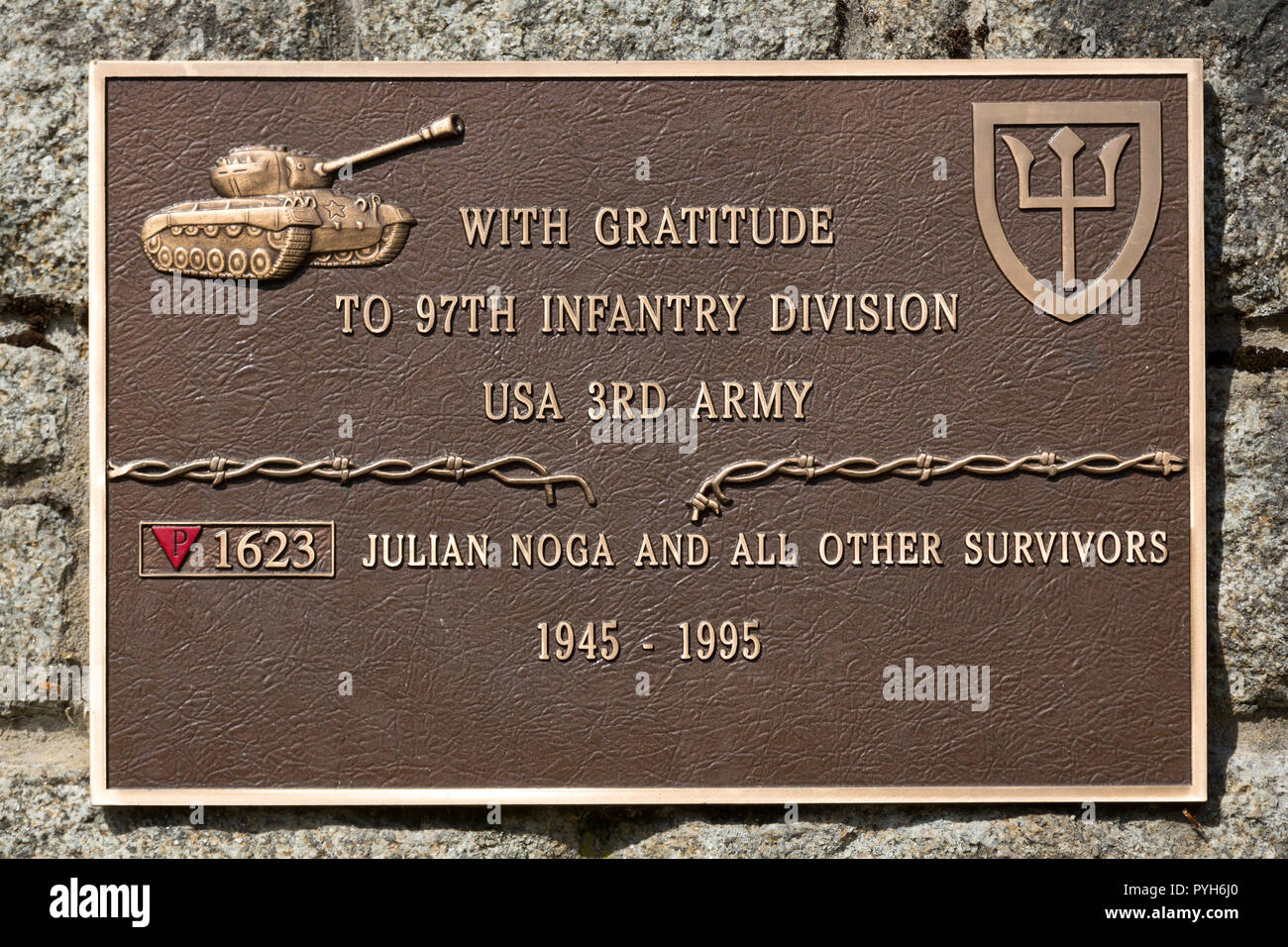 Bavaria, Germany - Concentration camp memorial Flossenbuerg, thank you plaque of a survivor for the US Army - Stock Image