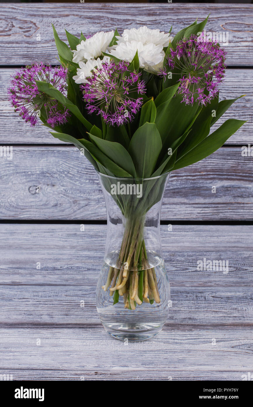 Fresh Flowers In Glass Vase Bouquet Of White Chrysanthemum And