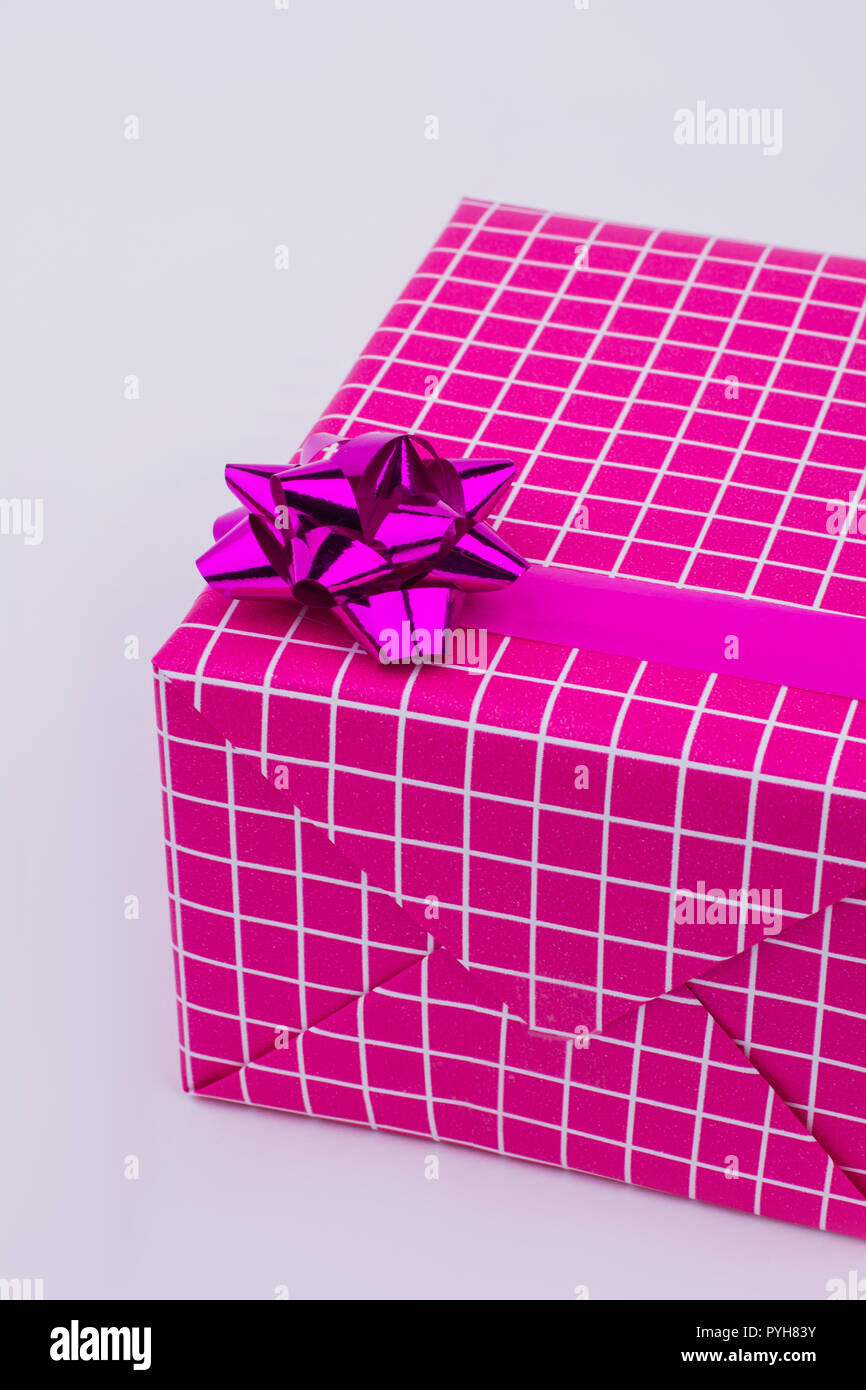 Pink Gift Box With White Decor Beautifully Packed Present Box On