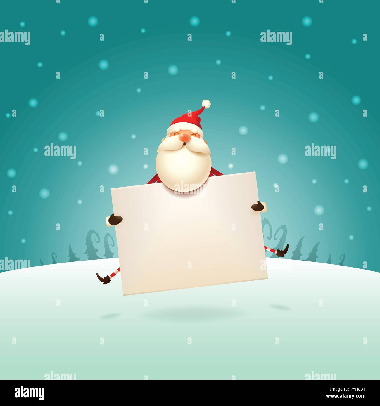 cute santa claus jumping with board on winter landscape christmas