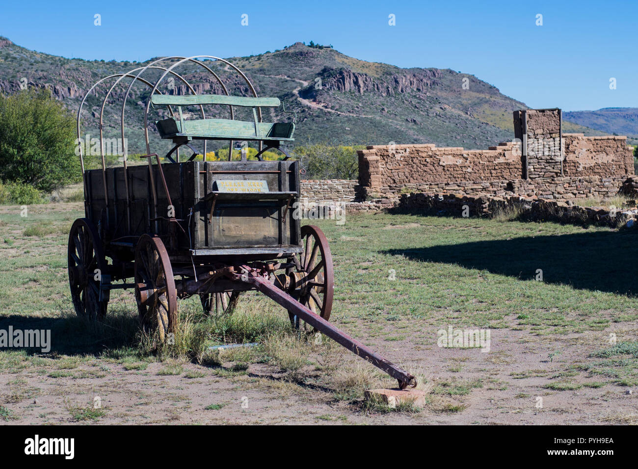 Charriot used by the Buffalo Soldiers of the Ninth Cavalry stationed Fort Davis, Texas. Buffalo Soldiers were Black soldiers. - Stock Image