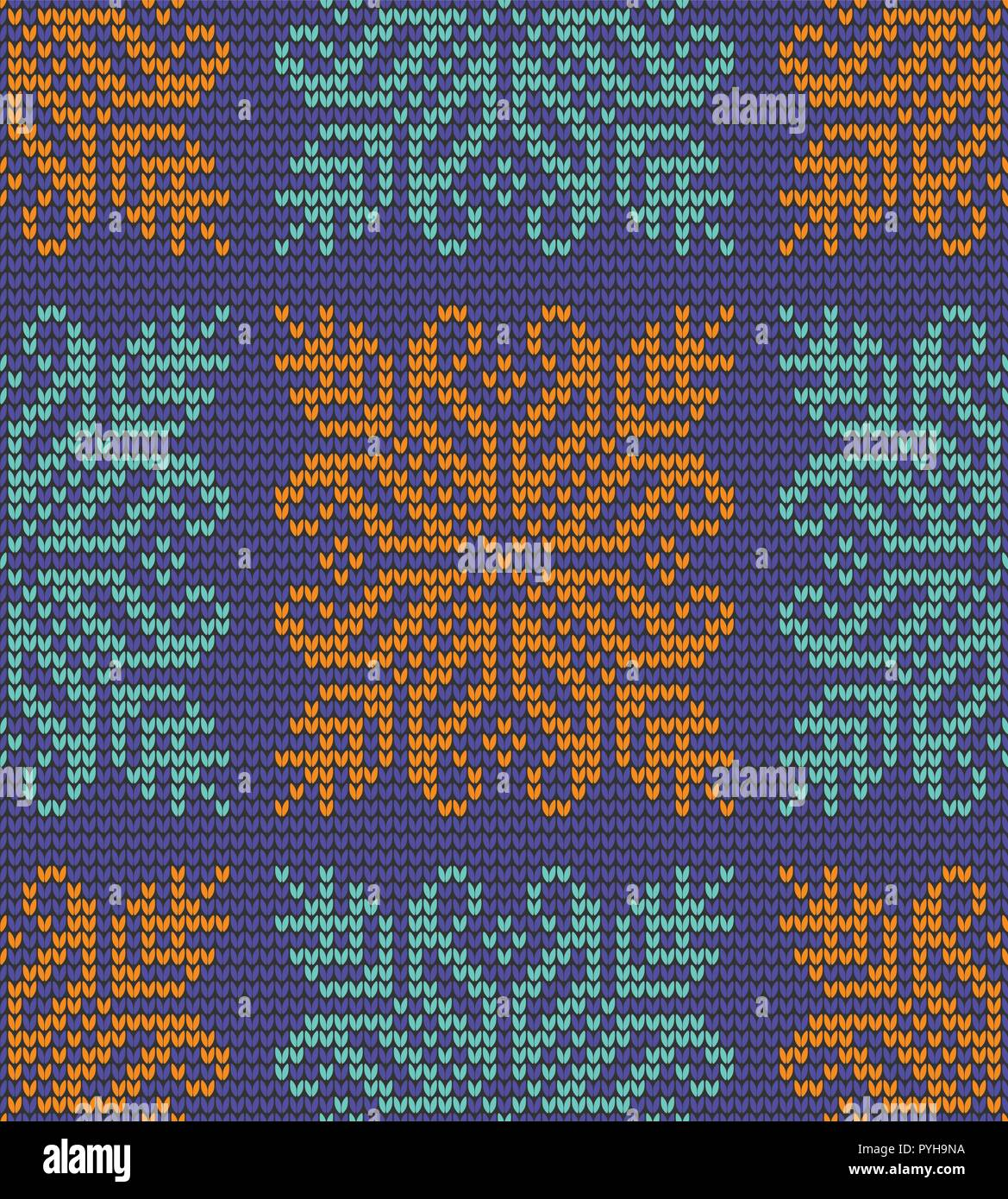 Abstract color seamless knitting pattern with snowflake background - Stock Vector