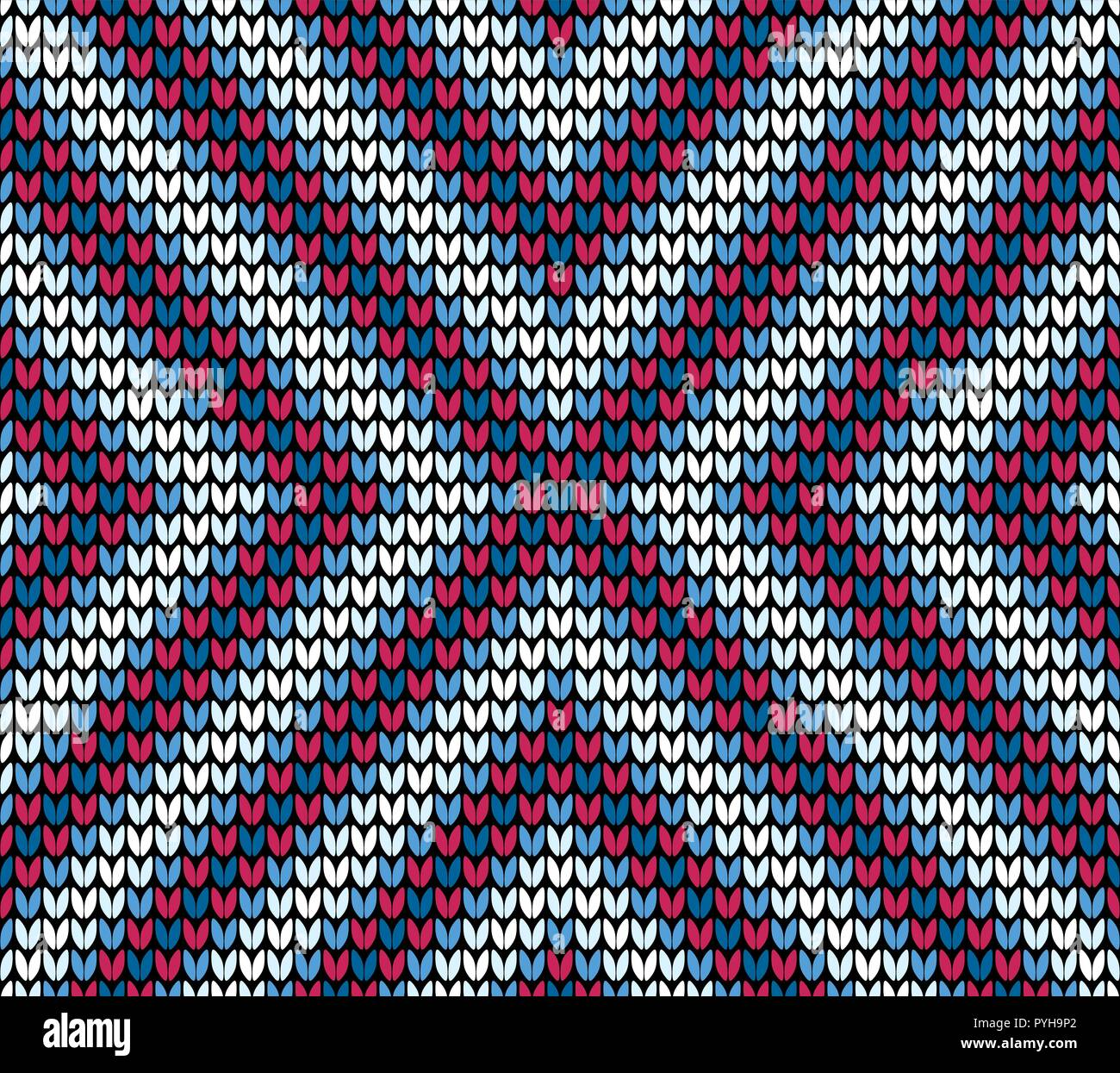 Abstract blue and red seamless knitting pattern background - Stock Vector