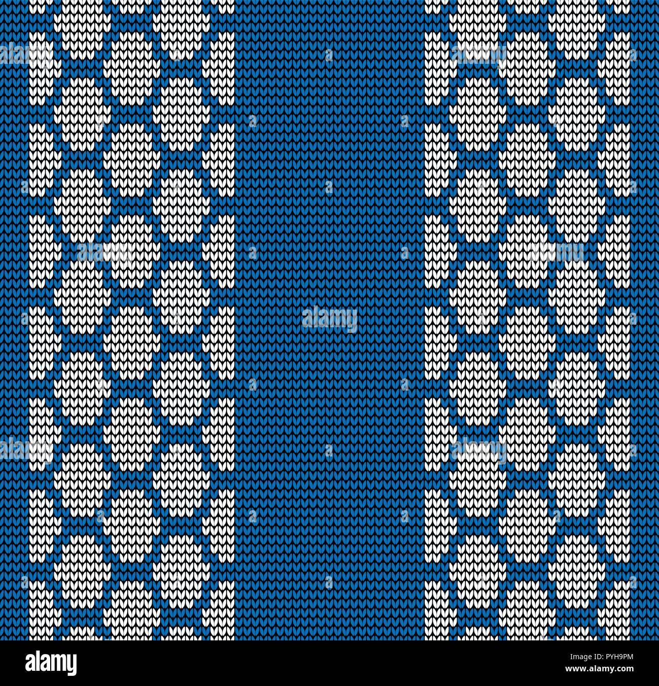 Abstract blue seamless knitting tire track pattern background - Stock Vector
